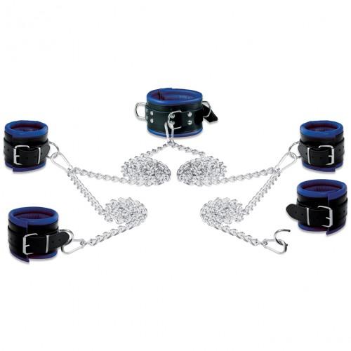 Lederen 8cm blauw-zwart gevoerde Hals- Pols- en Voetboeienset