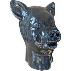 Black Latex fetish PIG Mask with zipper - mae-sm-219