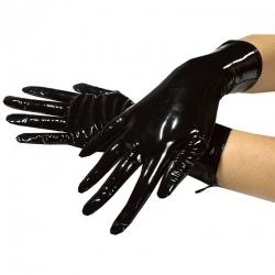 Korte zwarte lak handschoenen - le-1063