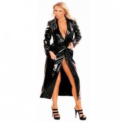 Long Black PVC Coat  - le-1168-BLK