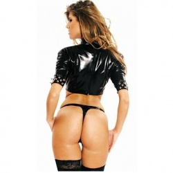 Black PVC Top with spikes size UK 16 - EU 44 - LE-1171-BLK-EU44