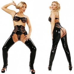 Black PVC trousers size UK 6 - EU 34 - le-1243-blk-eu34