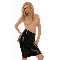 Black PVC Pencil Skirt 1398 - le-1398