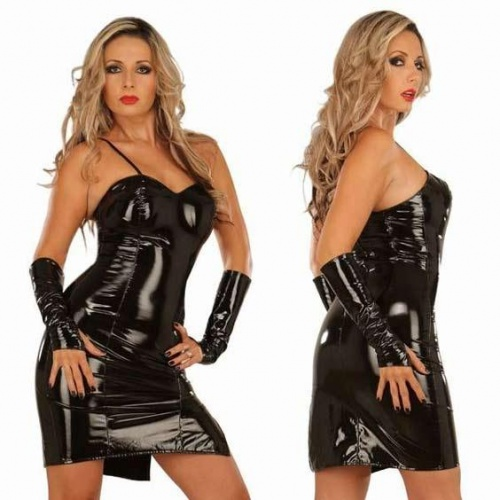 Black vinyl mini dress 1492 - le-1492