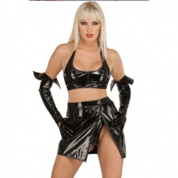 Black Vinyl Wrap Skirt 1551 - le-1551