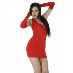 Stretch Minikleid Rot Große EU 34 - le-3002-red-uk6-eu34
