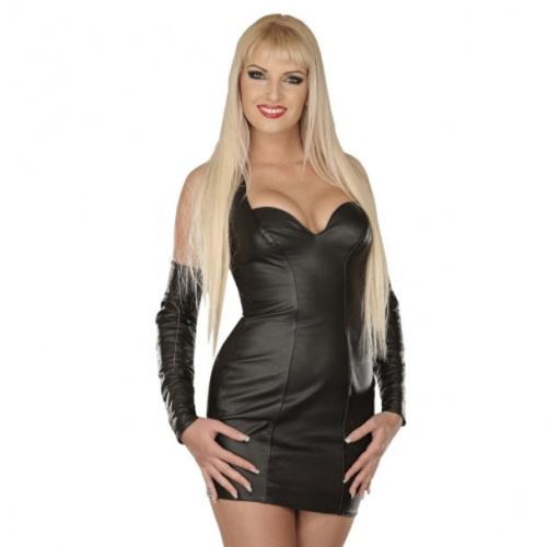 Black leather mini dress 5113 - le-5113-blk