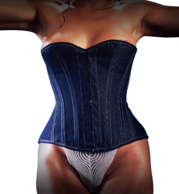 Beautifull Jeans corset Denim EC001 with detachable suspenders by  Erotex