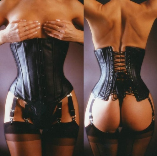 Black leather underbust corset - ET-EC005-LED