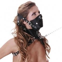 Lederen BDSM masker met ketting 5283 - le-5283-blk