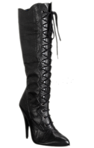 leather Knee boots with laces - HG-3221
