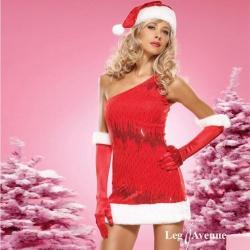Rood fluwelen kerst jurkje -  leg -83475