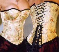Goud zijden corset met chinese print - ET-EC007-GOGO