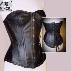 Leather Optic Black Corset - et-ec007-lei