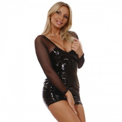 Vinyl net mini dress by Ledapol - le-1556