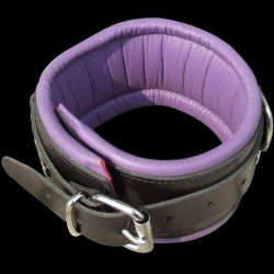 Purple-Black Leather Padded BDSM Collar - hg-606h-paars