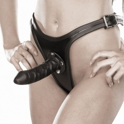 Leather Strap-on with 16 cm Dildo 742 - Le-742-BLK