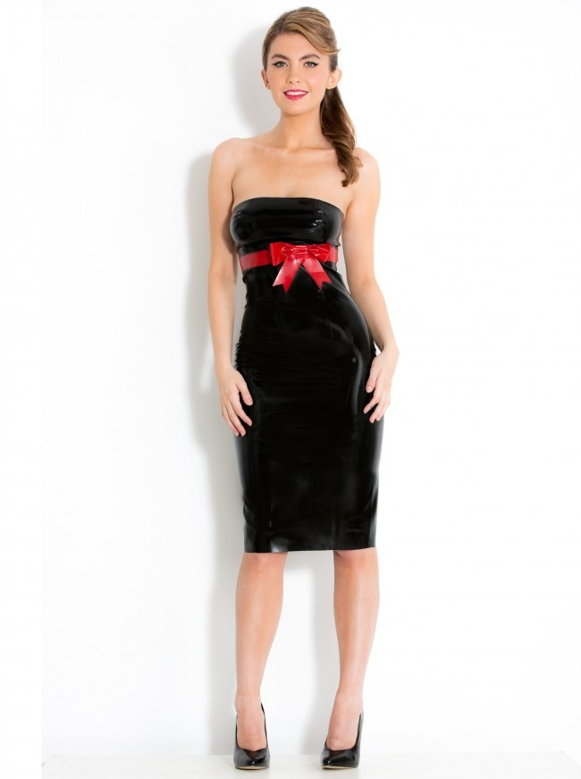 You'll be the belle of every ball in this classy black rubber tube dress, finishing just below the knee, with red underbust band and pussy bow