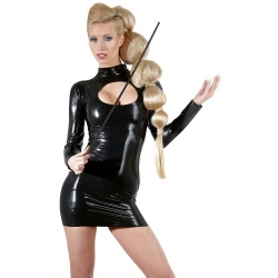 Zwart Latex Mini jurkje maten S > XL - or-2900386