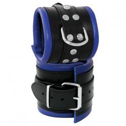 Lederen gepolsterde brede zwart-blauwe polsboeien - os-0102-2b