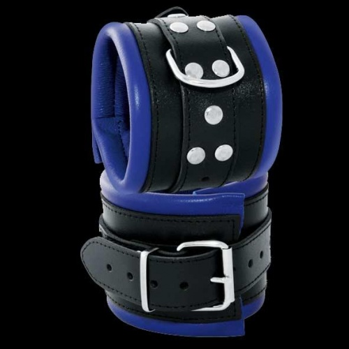 Leather Feettcuffs Black-Blue - OS-0102-3B