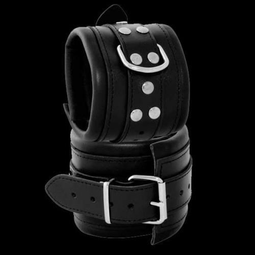 Leather Feetcuffs Black - OS-0102-3S