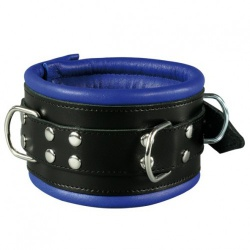 Luxury Black-Blue padded Leather Collar - os-0102-1b