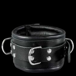 Luxe Lederen gevoerde zwarte halsboei - os-0102-1s