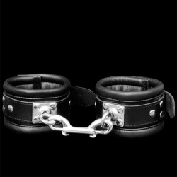 Padded Leather Feetcuffs with strong rotating ring - os-0103-3s