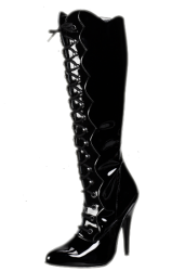 Patent Leather Knee Boots with laces - hg-3222
