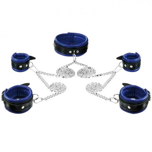 Lederen blauw-zwart gevoerde 5cm hoge Hals- Pols- en Voetboeienset