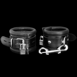 Black Leather lockable wrist cuffs - os-0115