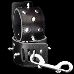 Leather wrist cuff with spikes - OS-0116-2