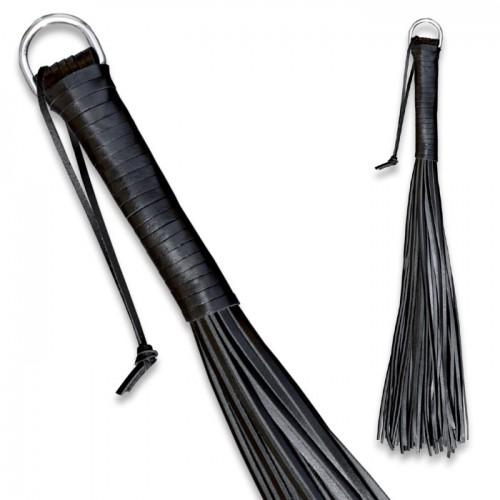 Zwarte Rundleder 48 striemen zweep van SaXos - os-0135-2
