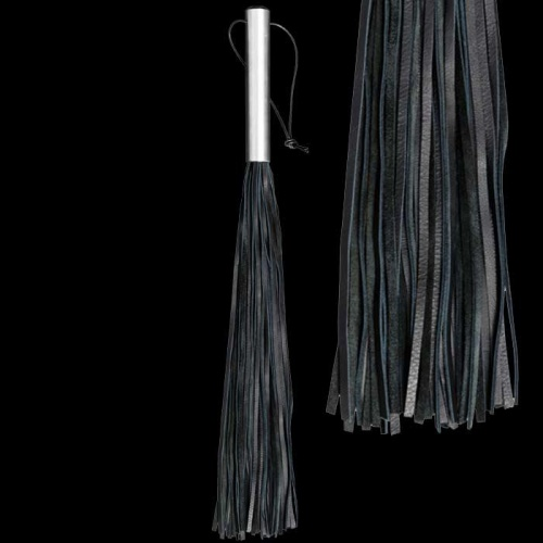 Nappa leather whip with aluminum handle - OS-0145-1