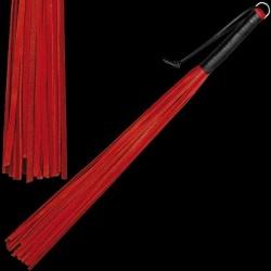 Rode rundlederen Zweep - 24 striemen - os-0148-1r