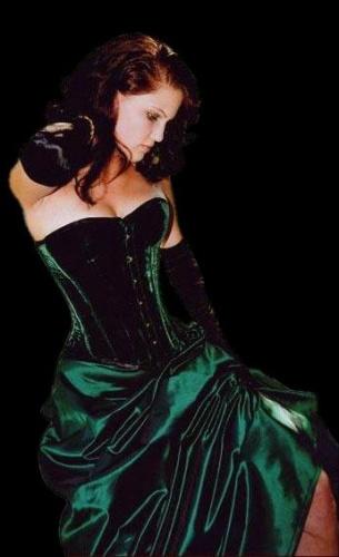 Nobles Green Velvet Corset - ET-EC007-SA/GR