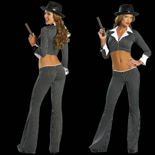 3 Piece Gangster Girl Costume size M/L - rm-1347
