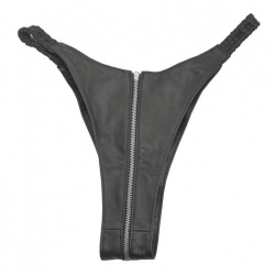 Black Leather Briefs with Zipper 5590 - Le-5590-BLK