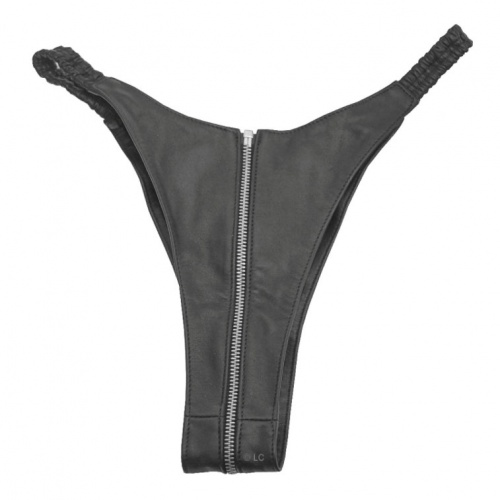 Black Leather Briefs with Zipper 5590 - Le-5590-BLK