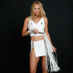 Heavy White Leather Whip with 60 hard cow-leather tails - NL-W100-60WH