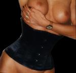 Plus-size Satijnen Taille Korset Zwart - ET-EC002-SATIN-BLK-plus