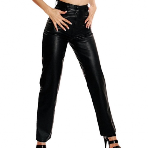 Ladies Leather Pants - le-702-blk