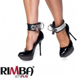 Leather feetcuffs with metal and padlock - ri-7524
