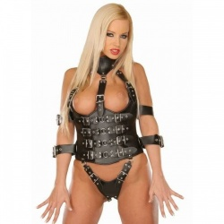 Leather bondage harness 5572 - Le-5572-BLK