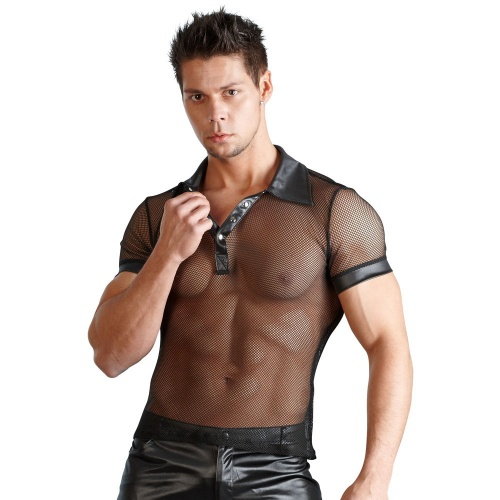 Men's shirt wetlook and net - or-2160366