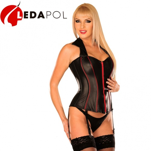 Black-Red Leather Corset 5254 - Le-5254