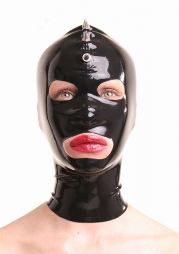 Back Latex mask with spikes size X-Large - AB4021Z-XL-BLK