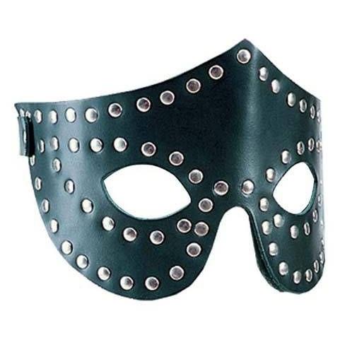 Zwarte Lederen Blinddoek met Buttons 406 - le-406-blk