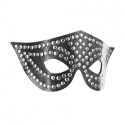 Black Leather Blindfold with Studs 335 - le-335-blk